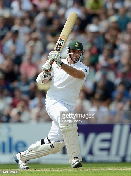 Graeme Smith of South Africa bats during day one of the 2nd Investec Test match between England and South Africa at Headingley on August 2 2012 in...