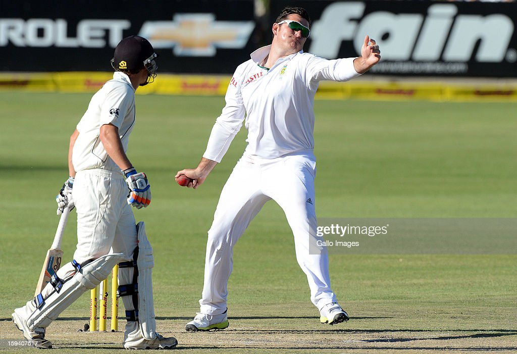 Graeme Smith of South Africa bowls during day 3 of the 2nd Test match between South Africa and New Zealand at Axxess St Georges on January 13, 2013 in Port Elizabeth, South Africa