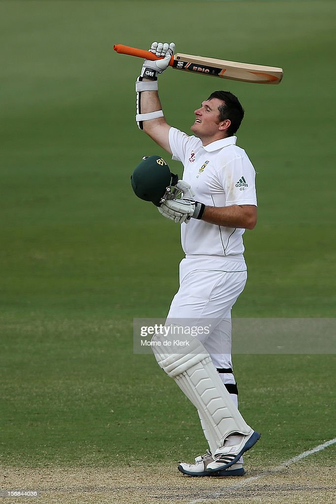 Graeme Smith of South Africa celebrates after reaching 100 runs during day two of the Second Test match between Australia and South Africa at Adelaide Oval on November 23, 2012 in Adelaide, Australia.