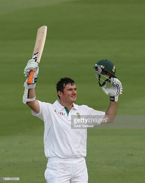 Graeme Smith of South Africa celebrates as he reaches his century on during day two of the Second Test match between Australia and South Africa at...