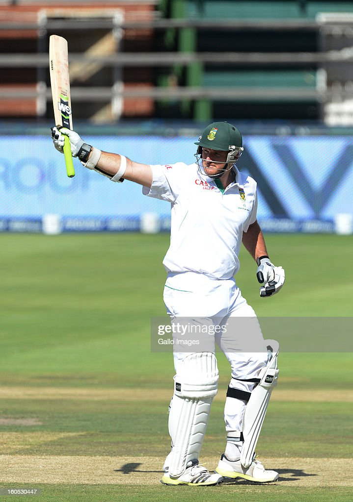 Graeme Smith of South Africa celebrates his 50 during day 2 of the first Test match between South Africa and Pakistan at Bidvest Wanderers Stadium on February 02, 2013 in Johannesburg, South Africa.