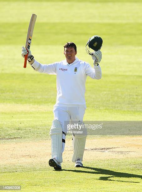 Graeme Smith of South Africa celebrates his century during day three of the First Test match between New Zealand and South Africa at the University...