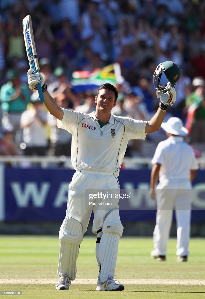 <a gi-track='captionPersonalityLinkClicked' href=/galleries/search?phrase=Graeme+Smith+-+Cricket+Player&family=editorial&specificpeople=193816 ng-click='$event.stopPropagation()'>Graeme Smith</a> of South Africa celebrates making a century during day three of the third test match between South Africa and England at Newlands Cricket Ground on January 5, 2010 in Cape Town, South Africa.