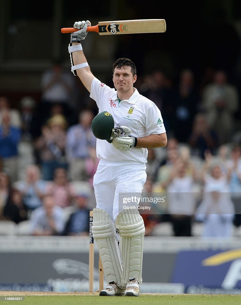 <a gi-track='captionPersonalityLinkClicked' href=/galleries/search?phrase=Graeme+Smith+-+Cricket+Player&family=editorial&specificpeople=193816 ng-click='$event.stopPropagation()'>Graeme Smith</a> of South Africa celebrates reaching his century during day three of the 1st Investec Test match between England and South Africa at The Kia Oval on July 21, 2012 in London, England.
