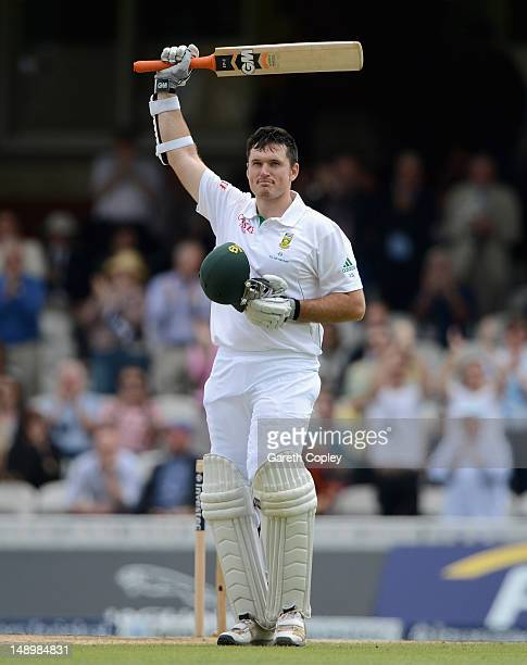 Graeme Smith of South Africa celebrates reaching his century during day three of the 1st Investec Test match between England and South Africa at The...