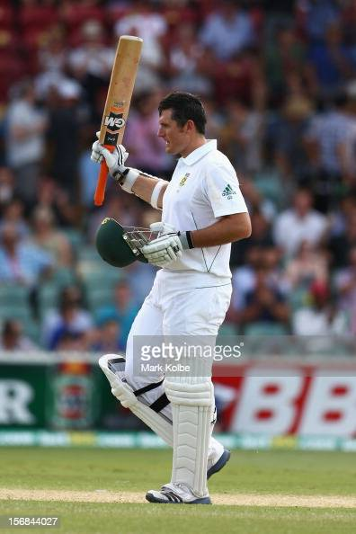 Graeme Smith of South Africa celebrates scoring his century during day two of the Second Test match between Australia and South Africa at Adelaide...
