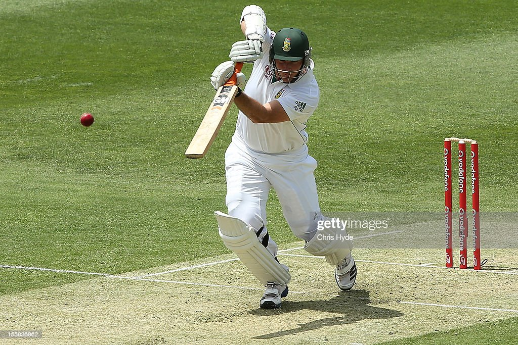 <a gi-track='captionPersonalityLinkClicked' href=/galleries/search?phrase=Graeme+Smith+-+Cricket+Player&family=editorial&specificpeople=193816 ng-click='$event.stopPropagation()'>Graeme Smith</a> of South Africa during day one of the First Test match between Australia and South Africa at The Gabba on November 9, 2012 in Brisbane, Australia.