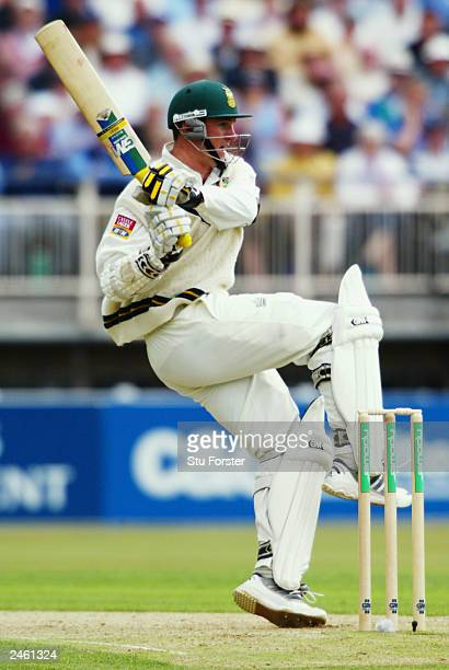 Graeme Smith of South Africa hits out during the first day of the first npower test match between England and South Africa held on July 24 2003 at...