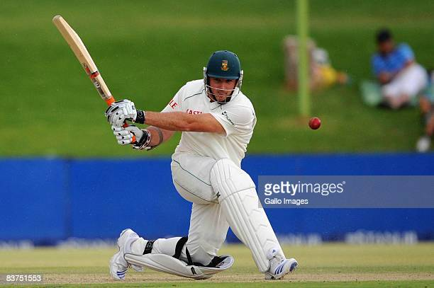 Graeme Smith of South Africa in action during day one the first test match between South Africa and Bangladesh held at the Outsurance Oval on...