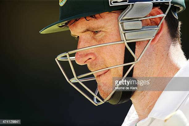 Graeme Smith of South Africa leave the field after he was bowled out by Mitchell Johnson of Australia during day three of the Second Test match...