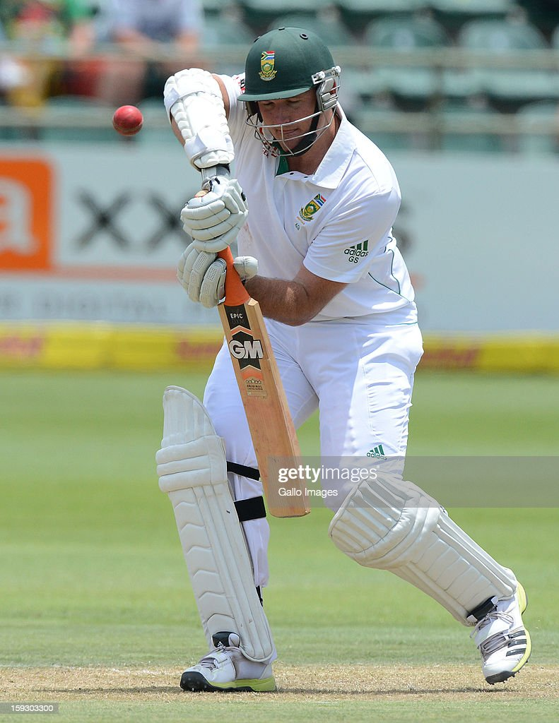 Graeme Smith of South Africa plays a defensive shot during day one of the second test match between South Africa and New Zealand at Axxess St Georges on January 11, 2013 in Port Elizabeth, South Africa.