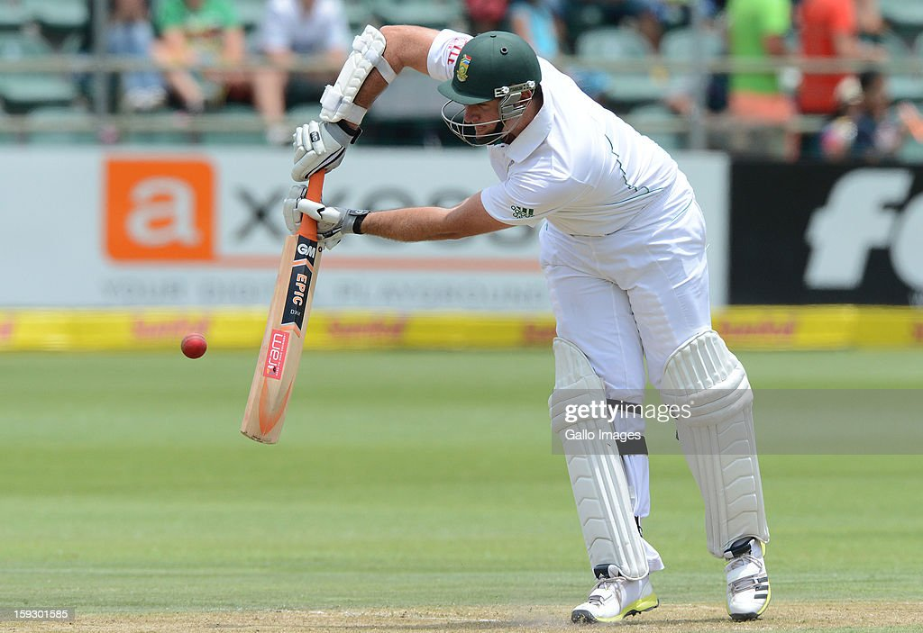 Graeme Smith of South Africa plays off the front foot during day one of the second test match between South Africa and New Zealand at Axxess St Georges on January 11, 2013 in Port Elizabeth, South Africa.