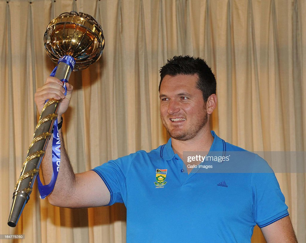 Graeme Smith of South Africa poses with the Mace during the ICC Test Championship mace handover, at Bidvest Wanderers Stadium on March 28, 2013 in Johannesburg, South Africa.
