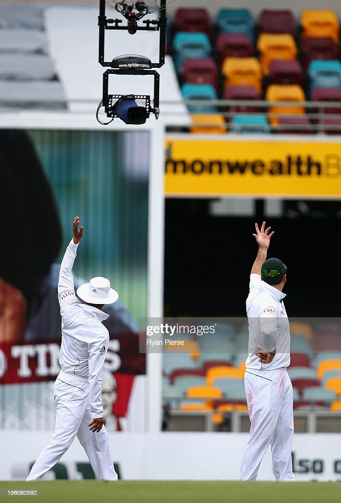 Graeme Smith of South Africa signals for 'Spidercam' to be moved during day four of the First Test match between Australia and South Africa at The...