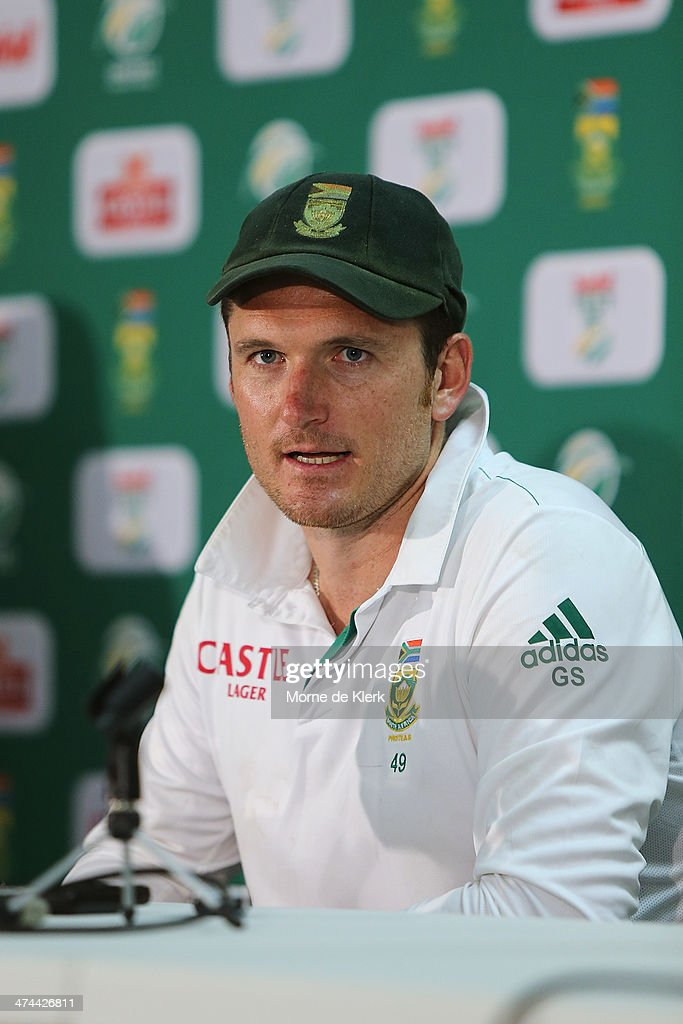 <a gi-track='captionPersonalityLinkClicked' href=/galleries/search?phrase=Graeme+Smith&family=editorial&specificpeople=193816 ng-click='$event.stopPropagation()'>Graeme Smith</a> of South Africa speaks to media at a post match conference after day four of the Second Test match between South Africa and Australia at AXXESS St George's Cricket Stadium on February 23, 2014 in Port Elizabeth, South Africa.