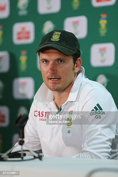 Graeme Smith of South Africa speaks to media at a post match conference after day four of the Second Test match between South Africa and Australia at...