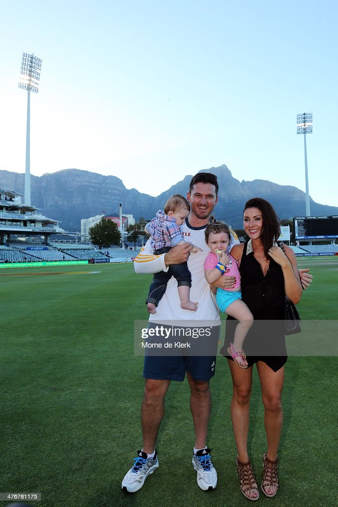 <a gi-track='captionPersonalityLinkClicked' href=/galleries/search?phrase=Graeme+Smith&family=editorial&specificpeople=193816 ng-click='$event.stopPropagation()'>Graeme Smith</a> of South Africa stands with his wife Morgan Deane and children Cadence and Carter after the match during day 5 of the third test match between South Africa and Australia at Sahara Park Newlands on March 5, 2014 in Cape Town, South Africa.