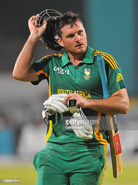 Graeme Smith of South Africa walks off for 66 runs during the 2nd One Day International match between South Africa and New Zealand at De Beers...