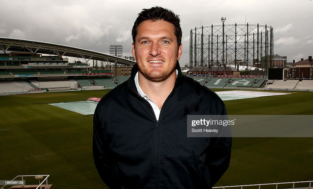 <a gi-track='captionPersonalityLinkClicked' href=/galleries/search?phrase=Graeme+Smith&family=editorial&specificpeople=193816 ng-click='$event.stopPropagation()'>Graeme Smith</a> of Surrey during a Surrey County Cricket Club photocall at The Brit Oval on April 12, 2013 in London, England.