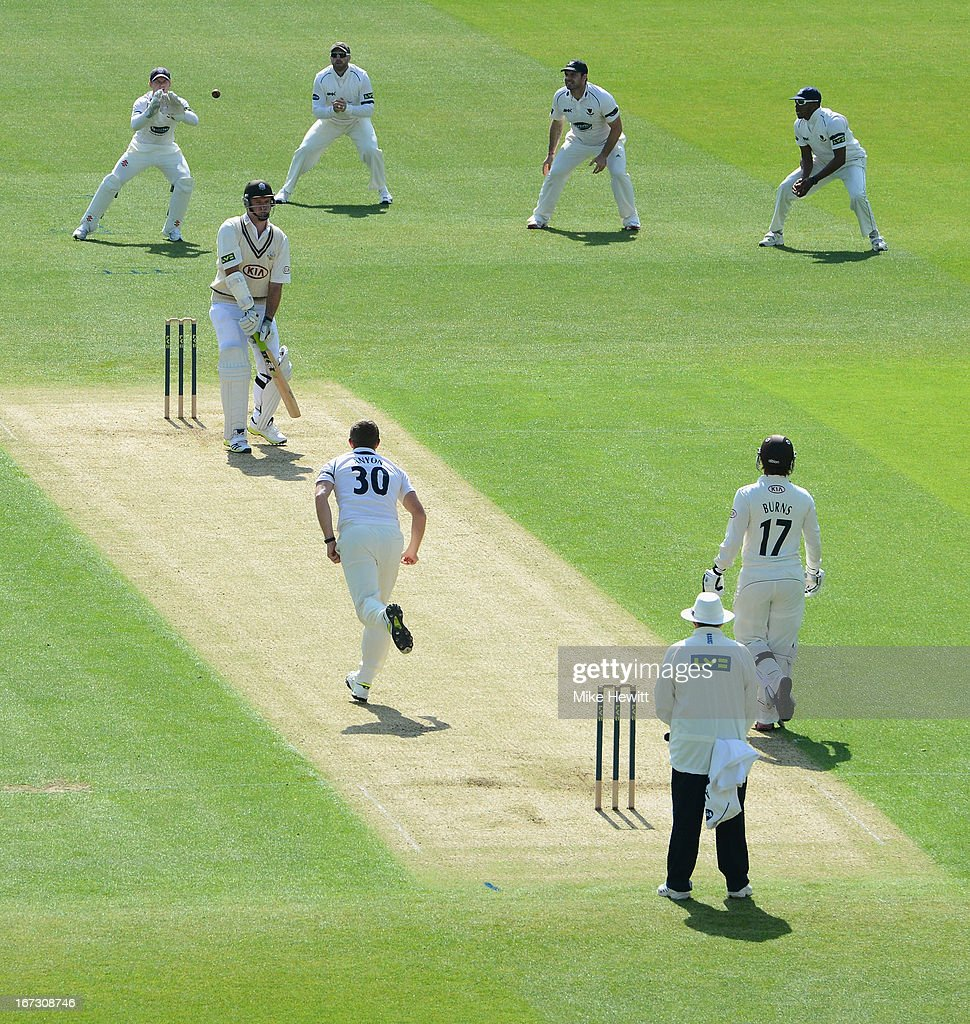 <a gi-track='captionPersonalityLinkClicked' href=/galleries/search?phrase=Graeme+Smith+-+Cricket+Player&family=editorial&specificpeople=193816 ng-click='$event.stopPropagation()'>Graeme Smith</a> of Surrey edges to wicketkeeper Ben Brown of Sussex off the bowling of James Anyon during day one of the LV County Championship Division One match between Surrey and Sussex at The Kia Oval on April 24, 2013 in London, England.