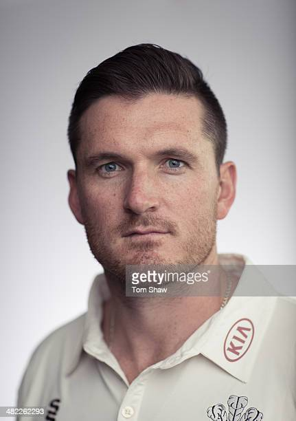 Graeme Smith of Surrey poses for a portrait during the Surrey CCC Captains Press Day at The Kia Oval on April 3 2014 in London England