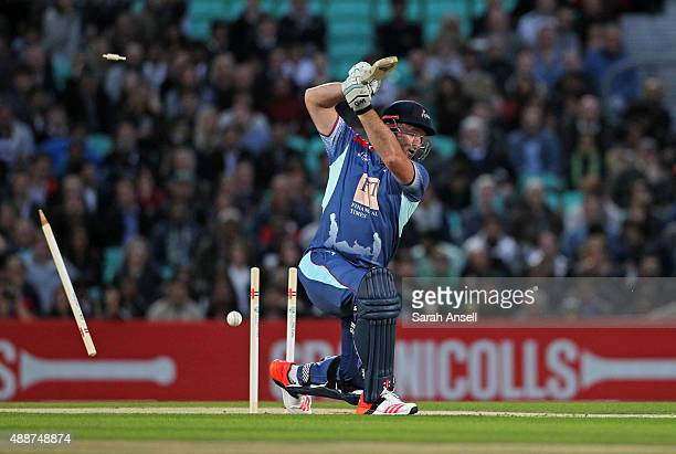 Graeme Smith of the Rest of the World XI is bowled by Darren Gough of the Help for Heroes team during the Cricket for Heroes charity match at The Kia...