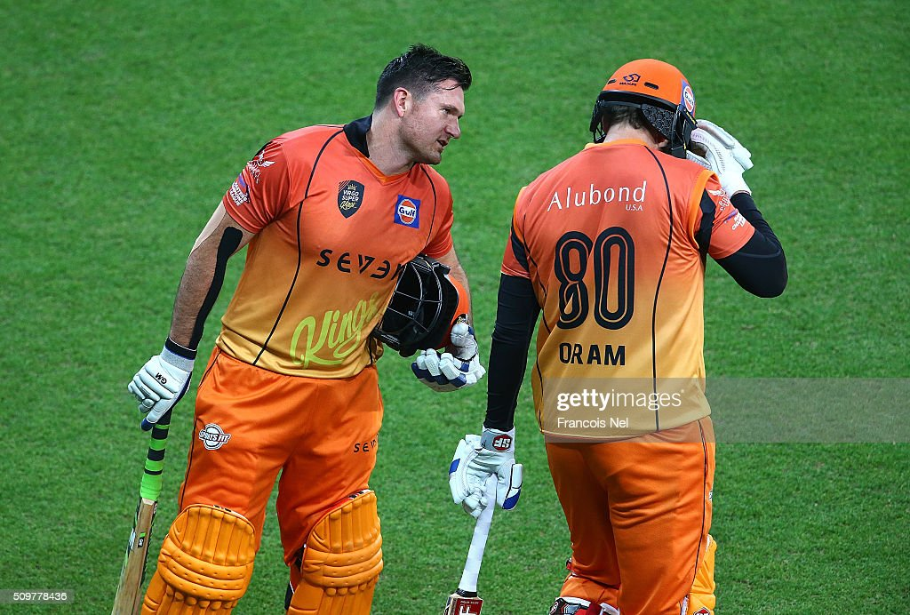 <a gi-track='captionPersonalityLinkClicked' href=/galleries/search?phrase=Graeme+Smith&family=editorial&specificpeople=193816 ng-click='$event.stopPropagation()'>Graeme Smith</a> of Virgo Super Kings spaeks to <a gi-track='captionPersonalityLinkClicked' href=/galleries/search?phrase=Jacob+Oram&family=editorial&specificpeople=171456 ng-click='$event.stopPropagation()'>Jacob Oram</a> as he walks out to bat during the Oxigen Masters Champions League Semi Final match between Leo Lions and Virgo Super Kings at Dubai International Cricket Stadium on February 12, 2016 in Dubai, United Arab Emirates.