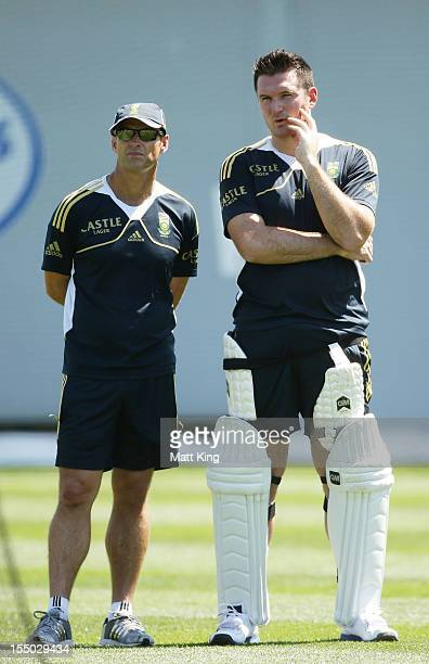 Graeme Smith talks to Proteas coach Gary Kirsten during a South African Proteas nets session at Sydney Cricket Ground on October 31 2012 in Sydney...
