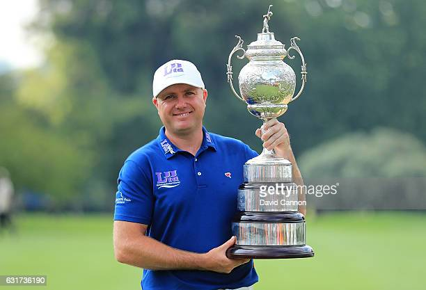 Graeme Storm of England celebrates with the trophy after winning the BMW South African Open Championship at Glendower Golf Club on January 15 2017 in...