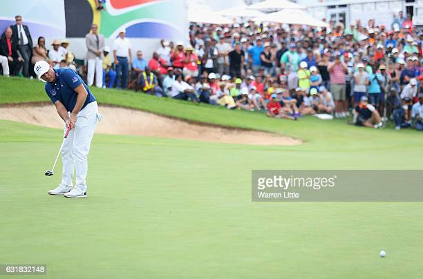 Graeme Storm of England reacts on the 18th green on the second extra play off hole against Rory McIlroy of Northern Ireland during the final round of...
