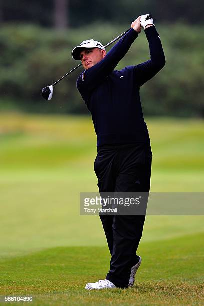 Graeme Storm of England takes his second shot on hole 2 on day two of the Aberdeen Asset Management Paul Lawrie Matchplay at Archerfield Links Golf...