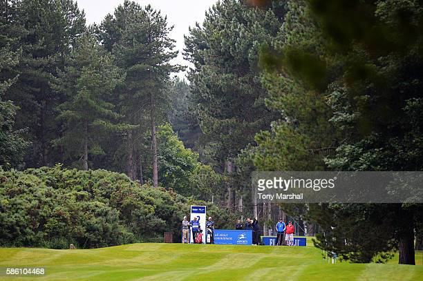 Graeme Storm of England takes his tee shot on hole 2 on day two of the Aberdeen Asset Management Paul Lawrie Matchplay at Archerfield Links Golf Club...