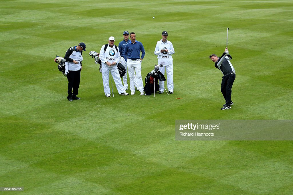 <a gi-track='captionPersonalityLinkClicked' href=/galleries/search?phrase=Graeme+Swann&family=editorial&specificpeople=578767 ng-click='$event.stopPropagation()'>Graeme Swann</a> in action during the Pro-Am prior to the BMW PGA Championship at Wentworth on May 25, 2016 in Virginia Water, England.