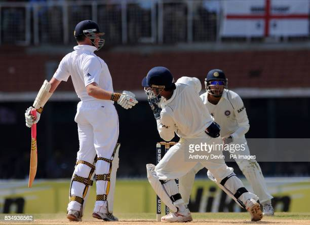 Graeme Swann is caught behind by Rahul Dravid during the second day of the First Test Match at the M A Chidambaram Stadium in Chennai India