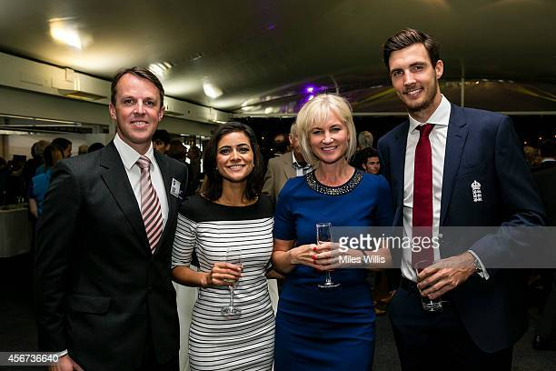 Graeme Swann Lucy Verasamy Emma Agnew and Steven Finn attend the NatWest OSCAs at Lords on October 6 2014 in London England