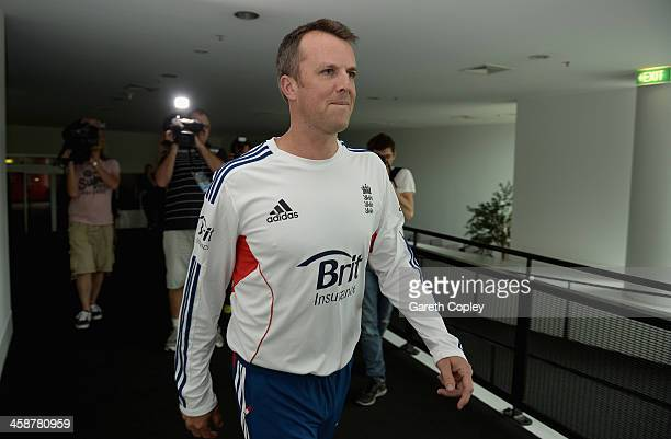 Graeme Swann of England arrives at a press conference to announce his retirement from all forms of cricket at Melbourne Cricket Ground on December 22...