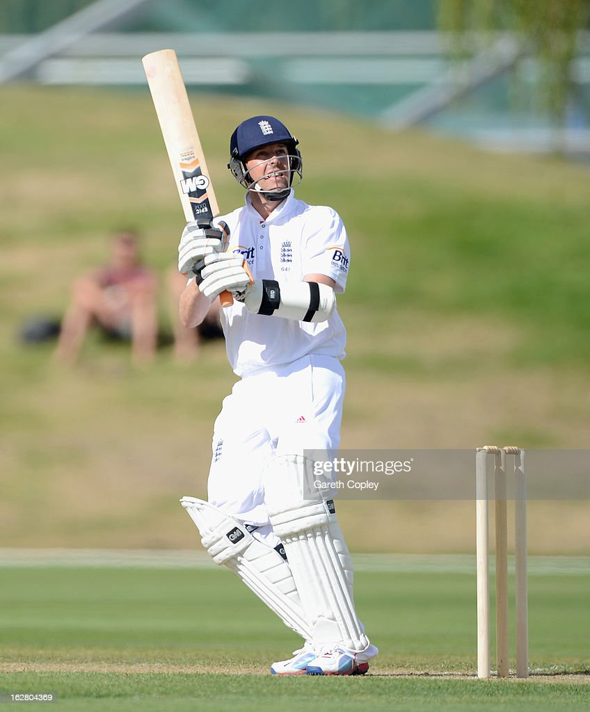 Graeme Swann of England bats during day two of the International tour match between the New Zealand XI and England at Queenstown Events Centre on February 28, 2013 in Queenstown, New Zealand.
