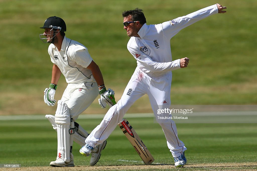 Graeme Swann of England bowls during day two of the International tour match between the New Zealand XI and England at Queenstown Events Centre on February 28, 2013 in Queenstown, New Zealand.