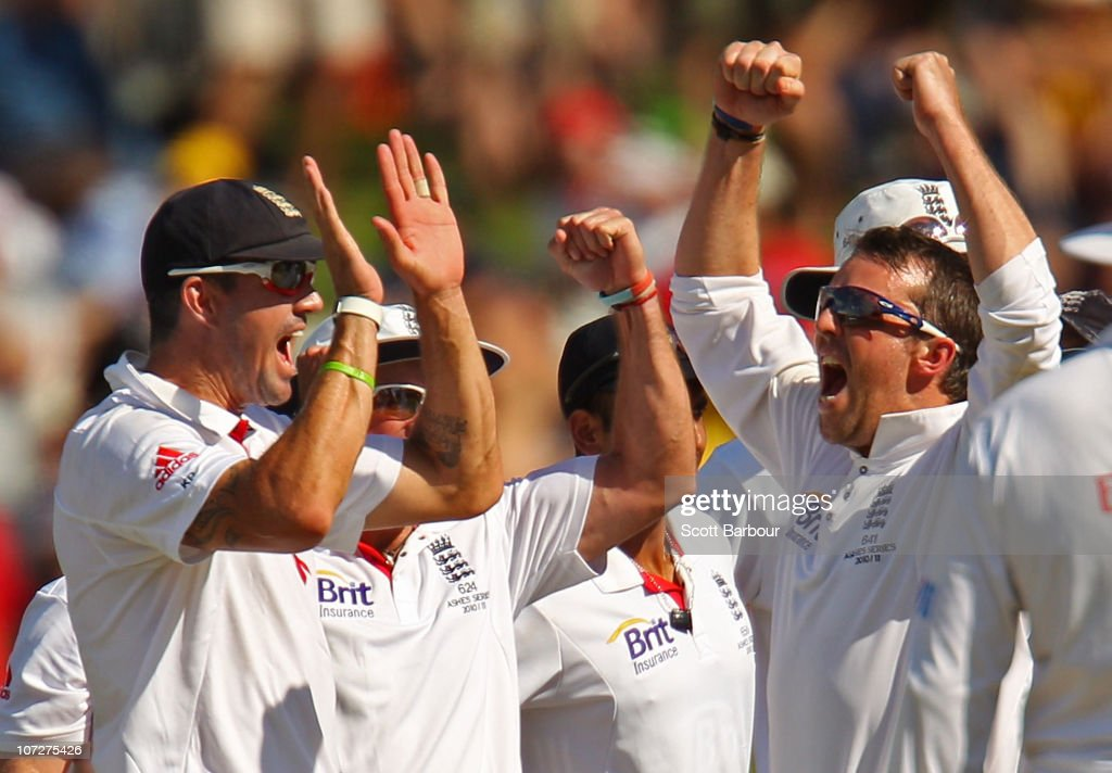 Graeme Swann of England celebrates after dismissing Ryan Harris of Australia LBW during day one of the Second Ashes Test match between Australia and England at Adelaide Oval on December 3, 2010 in Adelaide, Australia.