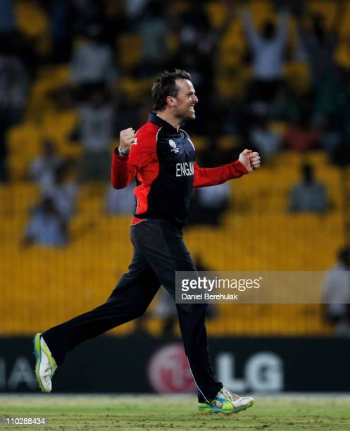 Graeme Swann of England celebrates after his wicket of Kemar Roach of West Indies during the Group B ICC World Cup match between England and West...