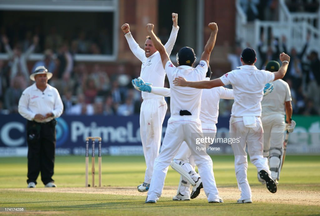 <a gi-track='captionPersonalityLinkClicked' href=/galleries/search?phrase=Graeme+Swann&family=editorial&specificpeople=578767 ng-click='$event.stopPropagation()'>Graeme Swann</a> of England celebrates after taking the final wicket of James Pattinson of Australia to claim victory during day four of the 2nd Investec Ashes Test match between England and Australia at Lord's Cricket Ground on July 21, 2013 in London, England.