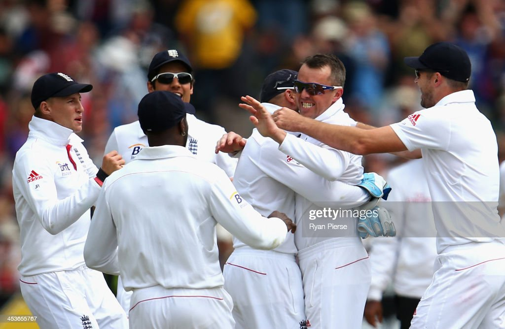 Graeme Swann of England celebrates after taking the wicket of Chris Rogers of Australia during day one of the Second Ashes Test Match between Australia and England at Adelaide Oval on December 5, 2013 in Adelaide, Australia.