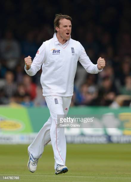 Graeme Swann of England celebrates dismissing Darren Bravo of the West Indies during day three of the first Test match between England and the West...