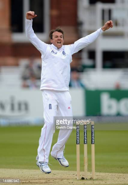 Graeme Swann of England celebrates dismissing Shivnarine Chanderpaul of the West Indies during day four of the first Test match between England and...