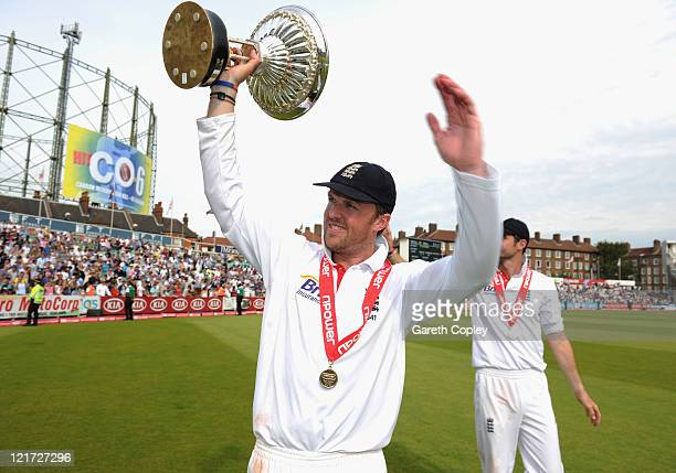 Graeme Swann of England celebrates the series victory with the Pataudi Trophy during day five of the 4th npower Test Match between England and India...