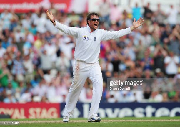 Graeme Swann of England celebrates the wicket of Sreesanth of India and victory during day five of the 4th npower Test Match between England and...