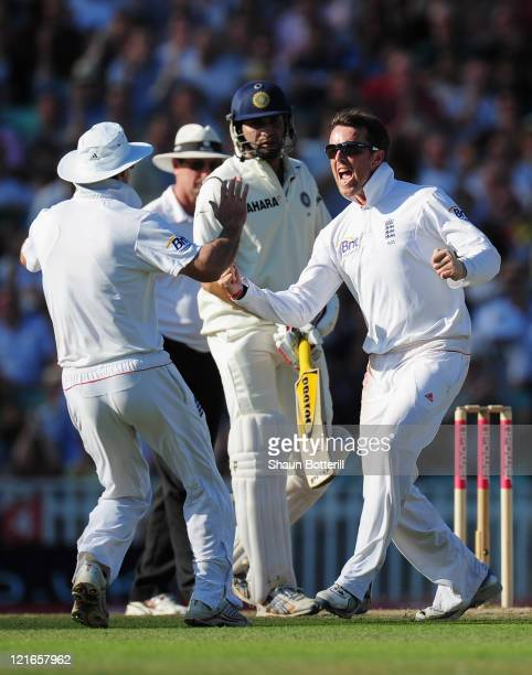 Graeme Swann of England celebrates the wicket of Virender Sehwag of India during day four of the 4th npower Test Match between England and India at...