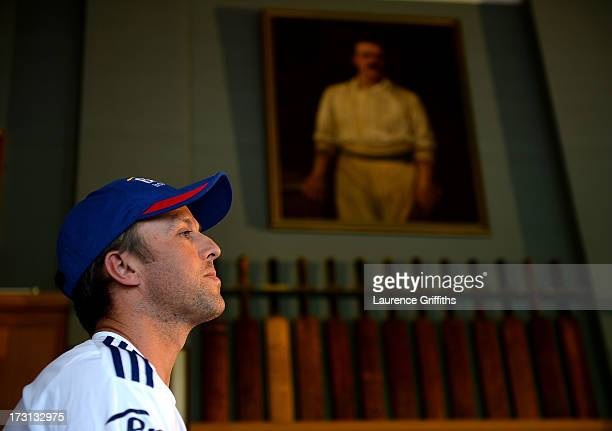 Graeme Swann of England faces the media during a press conference in the Long Roon at Trent Bridge on July 8 2013 in Nottingham England