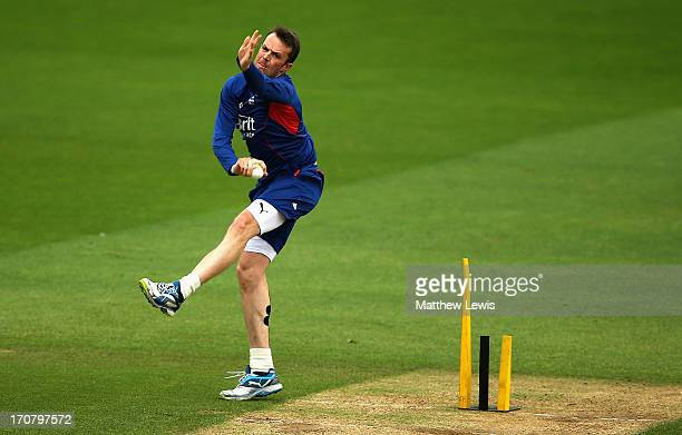Graeme Swann of England in action during an England nets session at The Kia Oval on June 18 2013 in London England