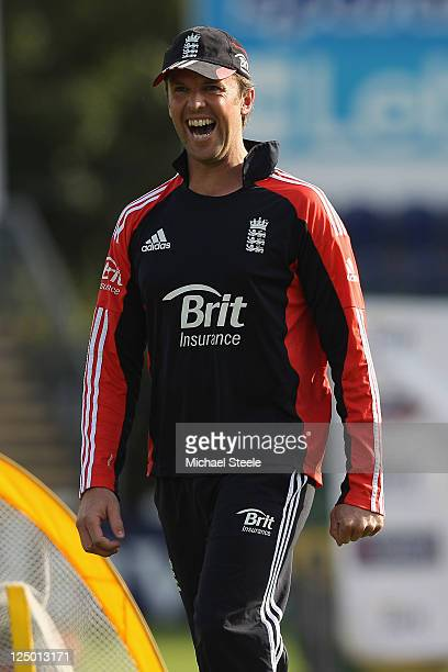 Graeme Swann of England in jovial mood during the England nets session at SWALEC Stadium on September 15 2011 in Cardiff Wales